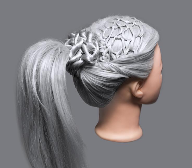 Recogido con detalle de cabello tejido