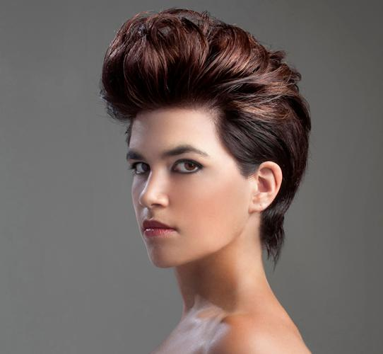 Short hair with a high volume pompadour