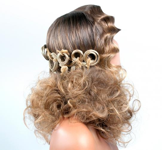 Glamorous party updo with modern details