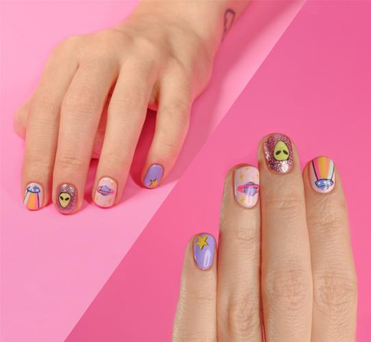 Space themed nail art design