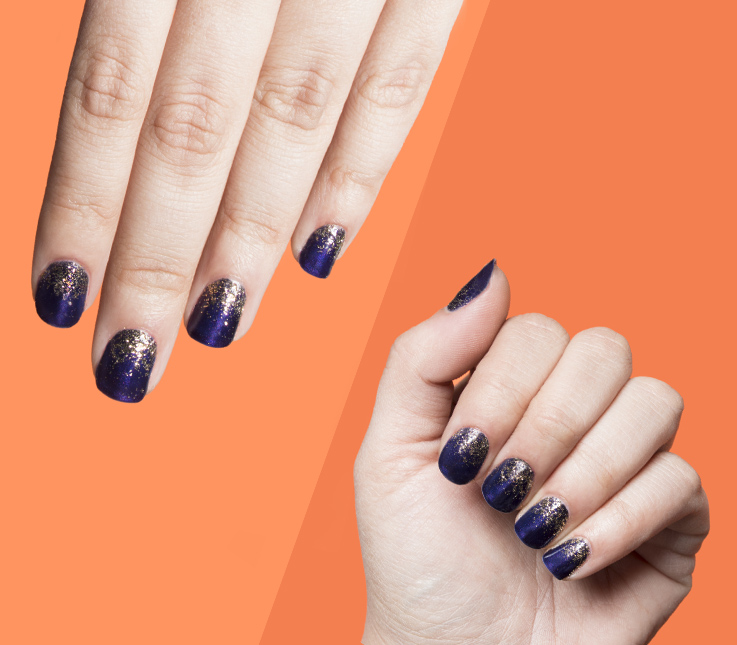 Decoración de uñas con degradado de purpurina